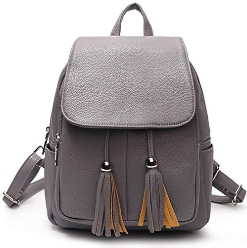 ches Leder Backpack Freizeit Einfarbig Doppelnutzen Schoolbag Beiläufige Stylischer Wanderrucksack Wild Messenger Bag ()