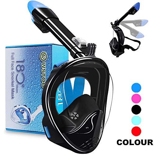 WSTOO Tauchmaske,180° Faltbare schnorchelmaske,schnorchelmaske vollmaske,tauchmaske vollgesichtsmaske,für Erwachsene und Kinder (Faltbare In Geschenkbox Schwarz/Blaue, L/XL)