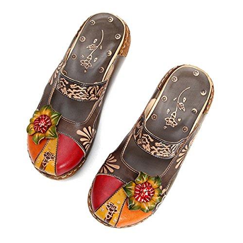 Gracosy Zapatilla de Cuero Para Mujer Mocasines de Mujer Sandalias Planas Zapatilla de Deporte de Verano Zapatilla Oxford de Verano Zapatilla de Deporte Vintage de Flores de Colores (42 EU,