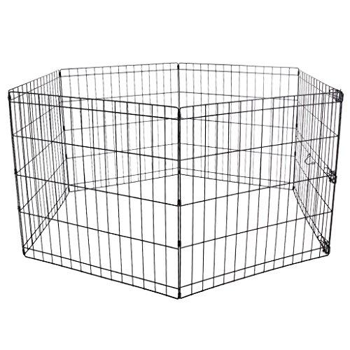 Wy_94 grande pet barrier fence esercizio in metallo box kennel, heavy duty portable dog cat animal box, nero, 6 panel