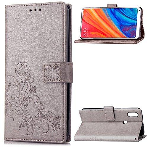 LAGUI Funda Adecuado para Xiaomi Mi Mix 2s, Los Adornos Bien Definidos y Grabados Carcasa Tipo Libro, de ranuras para tarjetas y soporte horizontal y solapa con cierre magnético, gris