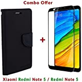 Like It Grab It Xiaomi Redmi Note 5 / Mi Redmi Note 5 / Redmi Note 5 (COMBO OFFER) Flip Cover Case Wallet Style ( Black ) (Black-Black)