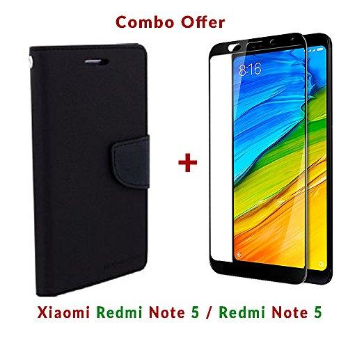 Like It Grab It Xiaomi Redmi Note 5 / mi redmi note 5 / Redmi Note 5 (COMBO OFFER) Flip Cover Case Wallet Style ( Black ) (Black-Black)