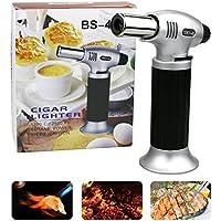 Emooqi Küchenbrenner Jet Flambierbrenner, Edelstahl und Aluminium Outdoor Winddichte Bunsenbrenner 1300°C für Creme Brulee, BBQ, Grill, Kerzen,Herd,Kochen, Backen