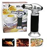 Emooqi Küchenbrenner Butangasbrenner Edelstahl und Aluminium Outdoor Winddichte Flambierbrenner 1300°C für Creme Brulee, BBQ, Grill, Kerzen,Herd,Kochen, Backen( Butan inbegriffen nicht )