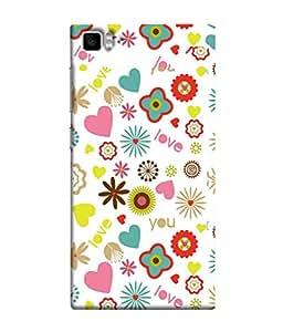 FUSON Designer Back Case Cover for Xiaomi Mi3 :: Xiaomi Mi 3 (Love You Pink Yellow Hearts Snow Red Flowers Garden )