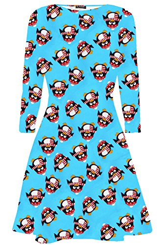 Oops Outlet Women's Long Sleeve Olaf Santa Gifts Snowman Christmas Swing Dresses M/L (US 8/10) Penguin Blue