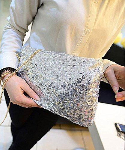 CC*CD Vintage Pailletten-Umschlag Party Abend kleine Tasche Handtasche Handtasche Silber