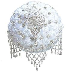 Idea Regalo - LWKBE Bouquet da Sposa, Bouquet Anniversario con Rose di Raso Artificiali Bouquet da Lancio Gioiello, Bouquet di Nappe da Sposa straordinarie