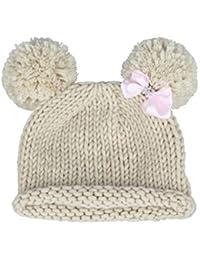 Bestknit Mütze für Babys und Mädchen, mit Pompons, Requisit, Häkelmütze, Strickmütze mit Schleife