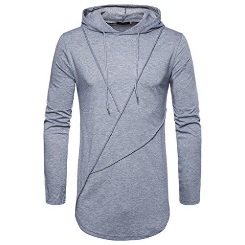 Sweats à capuche Top Hommes Toamen Couleur unie à manches longues Sweat à capuche décontracté Tee-shirt couture blouse L'automne des hommes (M, Gris)