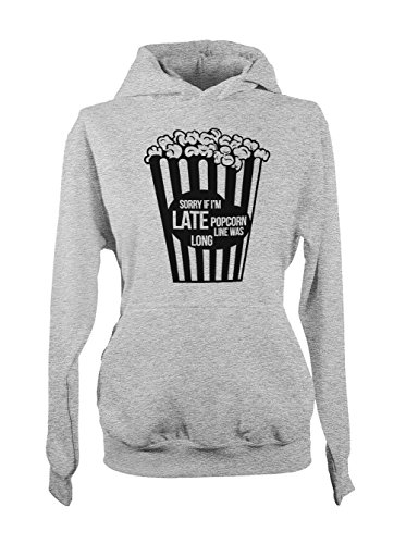 Popcorn Line Was Long Sorry Meme Amusant Cool Femme Capuche Sweatshirt Gris