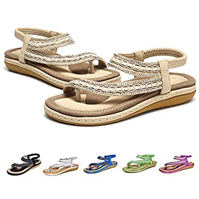 8887be7ef3b60 Camfosy Women Flat Sandals Summer Rhinestone T-bar Slippers Clip Toes  Backless Flip Flop Beach Boho Sandals Casual Walking Shoes Black Sliver Gold