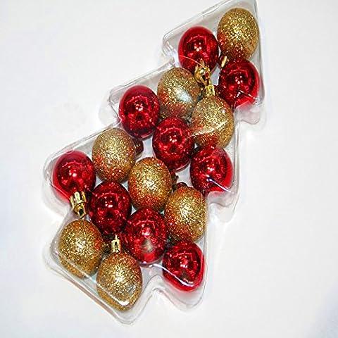 34x Elegante Árbol de Navidad/Bolas de Navidad en paquete regalo–Visión–bruchfest–En Dorado y Rojo Brillante, diámetro: 3cm, con correa color