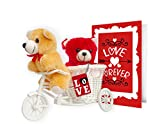 #8: TiedRibbons® valentine's day gifts for Girlfriend Love you forever 2 Teddy with cycle,Keychain and Greeting Card