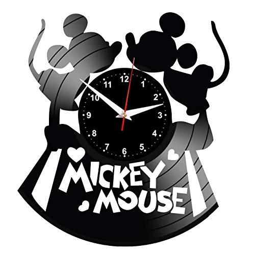 EVEVO Mickey Mouse Wanduhr Vinyl Schallplatte Retro-Uhr Handgefertigt Vintage-Geschenk Style Raum Home Dekorationen Tolles Geschenk Wanduhr Mickey Mouse