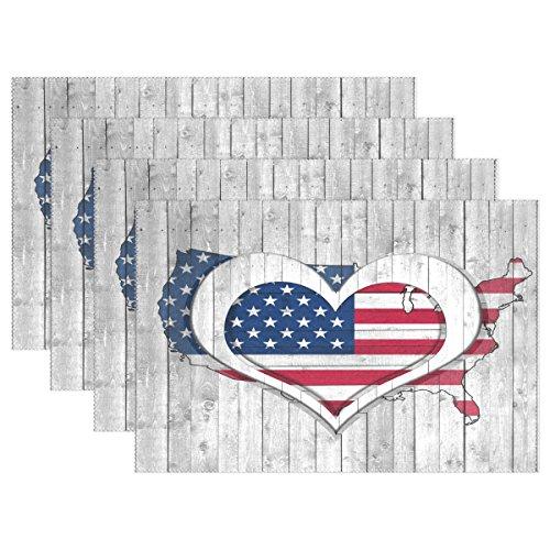 ALAZA Tischsets Set 1 Stück Amerikanische Flagge mit Herz auf Holz hitzebeständig waschbar Tischsets 30,5 x 45,7 x 2,5 cm für Küche Esstisch Dekoration, Polyester-Mischgewebe, Multi, 12x18 inch