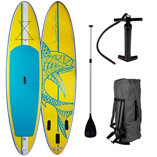addling Surfboard Shark Gelb 320x76x15cm aufblasbar Alu-Paddel Hochdruck-Pumpe Transportrucksack 115KG Tragkraft ()