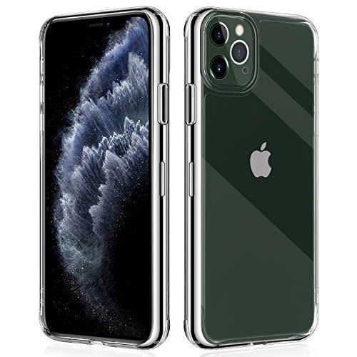 Promixc Handyhülle für iPhone 11 Pro Hülle, 9H Gehärtetes Glas Rückseite mit TPU Rahmen HD Hybrid iPhone 11 Pro Handyhülle Kratzfeste Schutzhülle mit Ultra-Dünn Bumper Case für iPhone 11 Pro - Klar