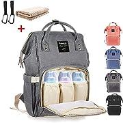 Baby Wickelrucksack mit 2 Pcs Kinderwagen-haken und 1 Pcs Wickelunterlage, Multifunktionale Wasserdichte Wickeltasche mit große Kapazität und warme Tasche, Babytasche für Reise (grau)