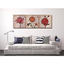 LB Flor de la Vendimia,Margarita_Imagen sobre Lienzo Decoración para el hogar,3 Paneles,40 x 40 CM,Sin Marco