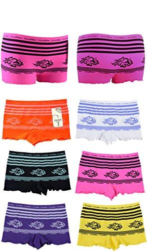 6er Pack Damen Boxershorts. Hot Pants Panty . Dessous Hipster Slips 2717 Größen S/M