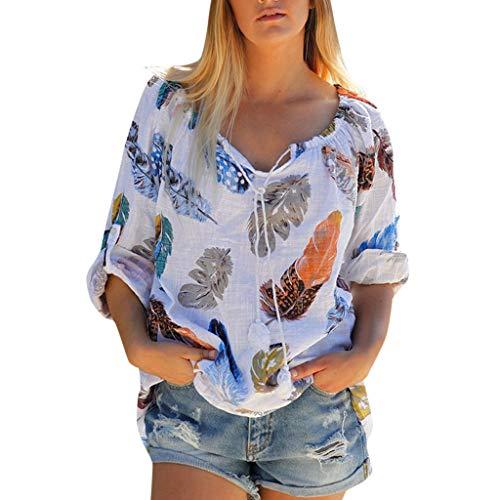 Frauen Kurzarm T-Shirt,Bedrucktes Top für Damen Lässige Langarm Bandage Quaste Knopfdruck Federbluse Tops Lässiges Oberteil im persönlichen Stil M-3XL - Floral Rib Tank