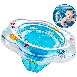 XMDDX Anneau Gonflable de Natation de bébé, Flotteur d'anneau de Bain de bébé avec siège de Piscine pour la Formation de Natation d'enfants, Anneau de Natation de Flotteur de bébé de 6 à 36 Mois Bleu