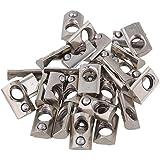 Estándar Europeo 20Series semicircular para rollo de acero de carbono ranura de aluminio en plata, cnbtr Muelle T Ranura Tuerca 30unidades, Plateado