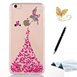 TOUCASA Coque iPhone 8,Housse iPhone 7, Silicone Coque,Premium Hybrid Crystal Clear Flex Clair Gel TPU Brillant Pailletee Silicone Coquille Coque Ange Petite fée pour iPhone 8/iPhone 7(Rose Vif)