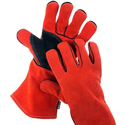 NoCry hitze- und flammenresistente Schweißerhandschuhe, auch als Grillhandschuhe geeignet, Premium-Rindsleder, 35 cm Unterarmschutz. Rot. Größe S