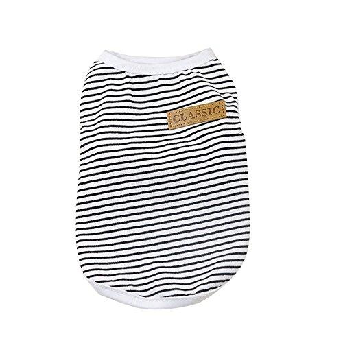 Hund T-Shirt, Sommer Gestreift Weste Haustier Kleidung Lässig Baumwolle Welpen Sweatshirt Security Hundekostüm ()