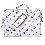 "TaylorHe Funda para portátil (15"" / 40cm) bolso de bandolera para 15""-15,6"" portátiles Laptop con bolsillos laterales para accesorios, pájaros, verde"