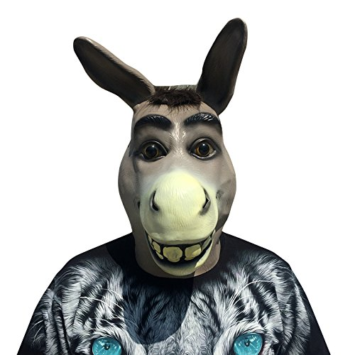 Esel Donkey Shrek der Esel mit Haaren Maske mask aus sehr hochwertigen Latex Material mit Öffnungen an Augen Mund und Nase mit echten Glasaugen Halloween Karneval Fasching Kostüm Verkleidung für Erwachsene Männer und Frauen Damen Herren gruselig Grusel Zombie Monster Dämon Horror Party