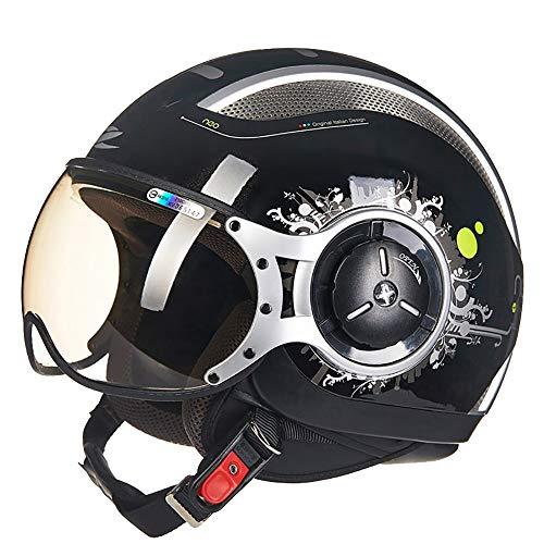 TKTTBD Retro Motorradhelm Jethelm,ECE Zertifiziert,3/4 Harley Motocrosshelme mit Doppelvisier für Damen Herren,Professionel Motorradhelm für Street Bike Cruiser Chopper Moped Scooter
