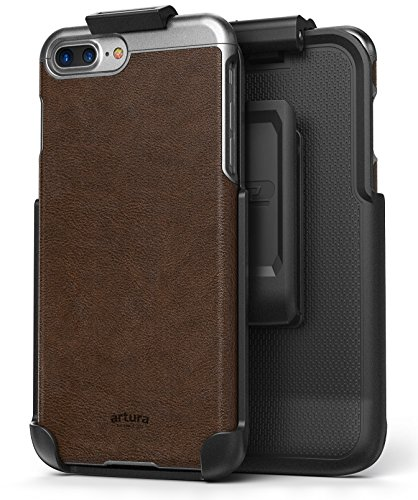 "iPhone 7 Plus (5.5"") Vegan Leather Belt Clip Case w/ Holster - Artura Collection by Encased (Jet Black) Mahogany Brown"