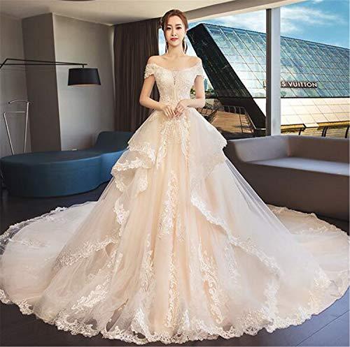 He-shop Hochzeitskleid, Brautkleid Für Frauen Trägerlose Schulter Langen Schwanz EIN Wort Kragen...