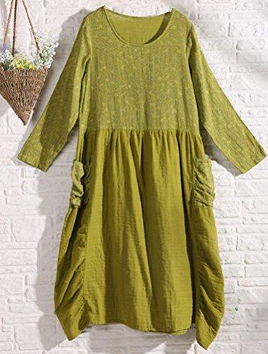MatchLife Femme O-Cou Floral Robe Vert