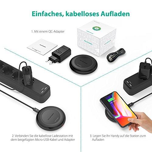 517tdcDTWpL - [Amazon] RAVPower Qi kabelloses Ladegerät für iPhone X/8/8 Plus für nur 29,99€ statt 39,99€