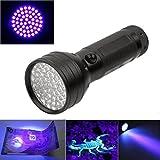 MuSheng(TM)Lampe UV ultra-violette 51 LED Lampe-torche Mini lampe-torche en aluminium Blacklight