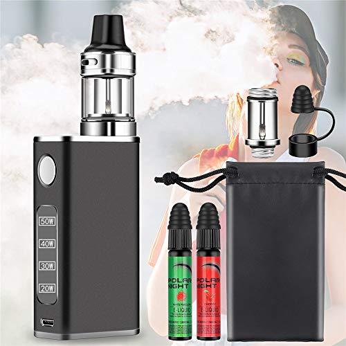 E Zigarette Starter Set 50W Box Schwarz Tasche, 2x10ml E liquid Aroma Wassermelone Kirsche Ohne Nikotin Vape, 2,0ml Top Refill 0,3ohm Verdampfer Mod 2000mAh 18650 Akku E Shisha