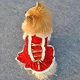 Hmeng Weihnachten Haustier Kleidung, Hund Kleidung Santa Doggy Kapuzenpullis Kostüme Kleider Warme Winter Samt Seidengürtel Bowknot Design Haustier Bekleidung (XS, Rot)