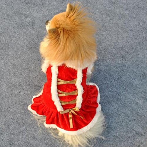 Kleidung, Hmeng Hund Kleidung Santa Doggy Kapuzenpullis Kostüme Kleider Warme Winter Samt Seidengürtel Bowknot Design Haustier Bekleidung (L, Rot) (Doggy-kostüm)