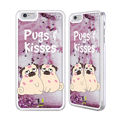 Head Case Designs And Kisses Piper Der Mops Rosa Handyhülle mit flussigem Glitter für Apple iPhone 6 Plus / 6s Plus And Kisses