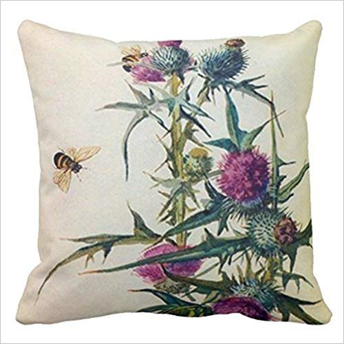 Tgyew Thistle Bee Pillow Case Canvas Cushion Cover