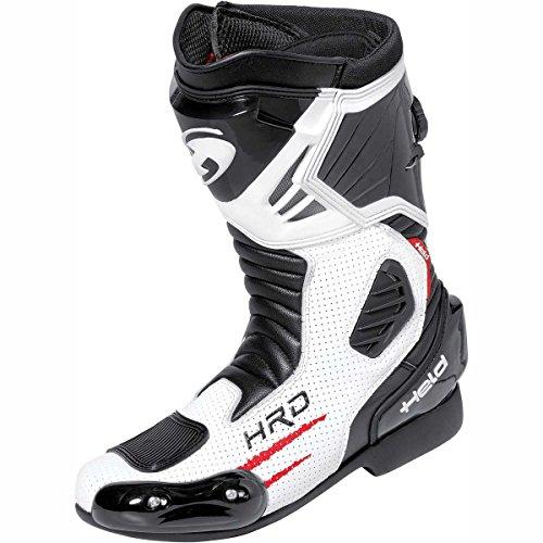 Held Donington Motorradsportstiefel, Farbe weiss-schwarz, Größe (Held Stiefel)