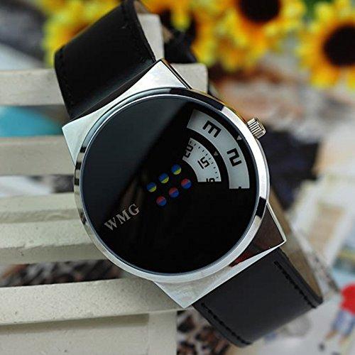 YULINGSTYLE Hochwertige Uhr Kreative Bunte Karussell-Skala-PU-Ledergürtel-DamenuhrenGünstige und billige Uhren
