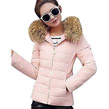 Manga larga Abrigo Chaqueta Portátil de Plumón Ligero Cremallera Chaqueta Parka Invierno Para Mujer Pink M