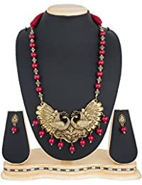The Luxor Fashion Jewellery Gold Plated Peacock Pearl Necklace Set For Women