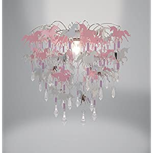 Unicorn Children Ceiling Lights Bedroom Chandelier Pink Purple and Silver Light Shade Lamp Ceiling Pendant Light Shade Nursery Children Bedroom